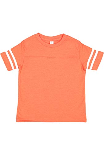 (Rabbit Skins Toddler Fine Jersey Short Sleeve Football Tee (Vintage Orange/Blended White, 5,6 Toddler))