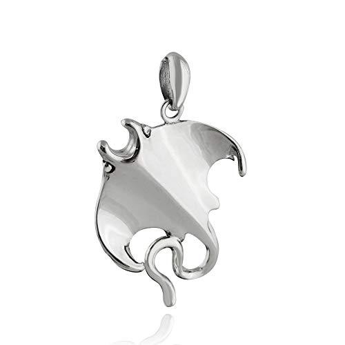 Pendant Jewelry Making Manta Ray Pendant - 925 Sterling Silver - Stingray Ocean Aquarium Sea
