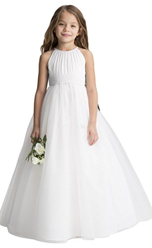 Chiffon Tulle Flower Girl Dress Junior Wedding Bridesmaid Dresses of Flower Girl A-line Ivory