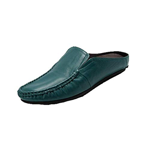 Stylish Sandals Soft Bottom Comodo Men Baotou Casual Summer Darkgreen Leather wXqpOWE