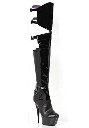 Ellie Shoes Black 609-FELICIA Heel Thigh 6