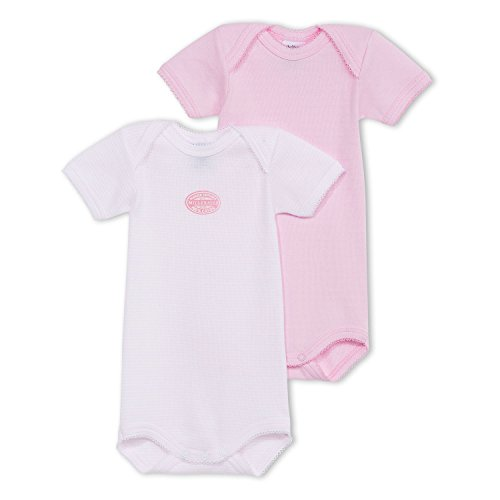 - Petit Bateau Baby Organic 2 Short Sleeve Bodysuits Top Gift Box (15050) (3 Months (60 cm), Pink / White with Pink Striped)
