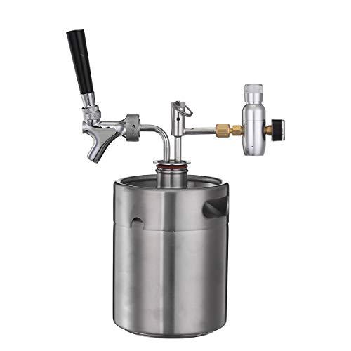 Botellas OlogyMart 2L vino del acero inoxidable Cubo barril de cerveza hecha en casa Growler barril de cerveza de plata