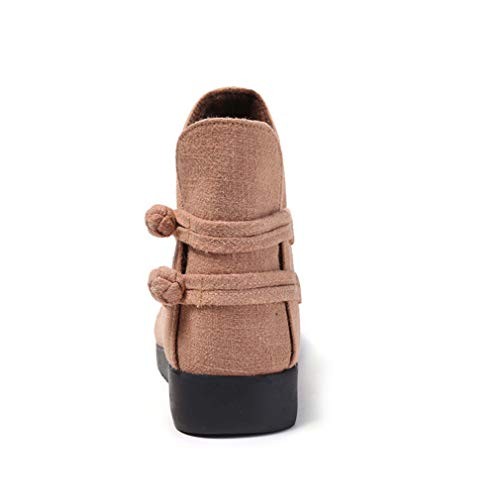 Bordados Yan Invierno Retro Oxford Tela Botines Algodón Un Otoño Vestir Antideslizantes Mujer De Zapatos Inferiores Botas IrXxHfwX