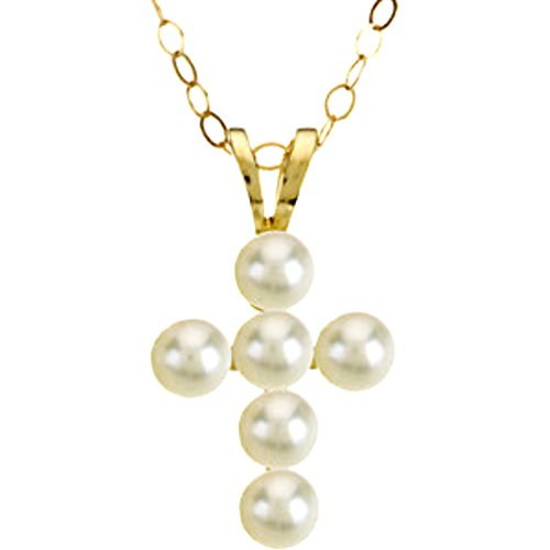 Childrens Freshwater Cultured Akoya Pearl Cross 14k Yellow Gold Necklace (3.0mm), 15