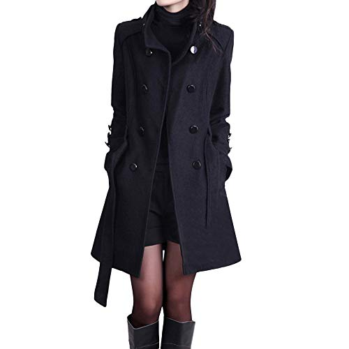 (Toimoth Women Double-Breasted Pea Coat with Belt Winter Warm Fashion Loose Tie Waist Jacket Coat (Black,XXL))