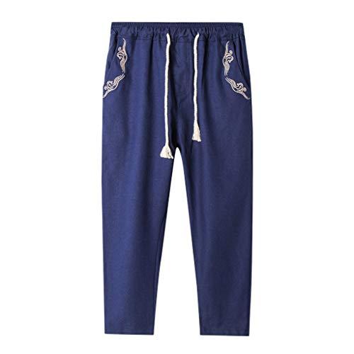 Men Summer Linen Cotton Solid Beach Casual Elastic Waist Classic Fit Trouser Navy