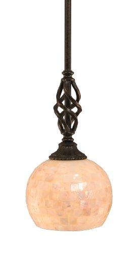 Shell Glass Shade - Toltec Lighting 80-DG-405 Eleganté Mini-Pendant Dark Granite Finish with Seashell Glass Shade, 6-Inch