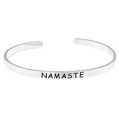 O.RIYA Namaste Brass Hand Stamped Bracelet, Bangle Cuff Bracelets Namaste Bracelet - Yoga Meditation Jewelry, Handmade Jewelry Mindfulness