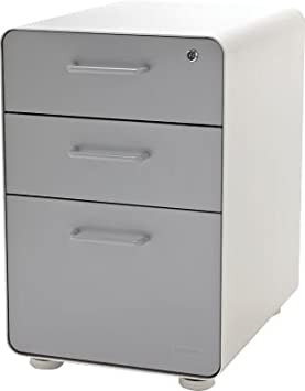 Poppin White Plus Light Gray Stow 3-Drawer File Cabinet: Amazon.ca ...