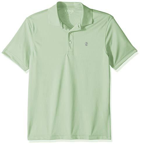 IZOD Men's Performance Golf Short Sleeve Grid Polo Shirt, Patina Green Medium