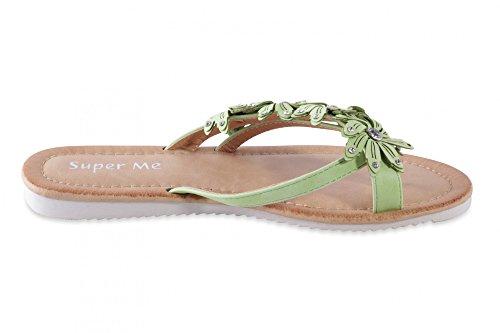 Stylische Sandalen Sandaletten Damenschuhe in Kunstlederoptik mit Zehentrenner und Blumen Strass Verzierung Green