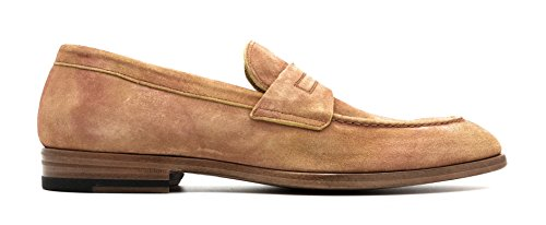 [ANTONIO MAURIZI Softy Delave Burnished Calf Suede Penny Loafer (6 US / 39 EU)] (Italian Suede Penny Loafer)