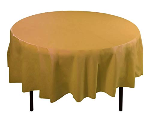(6-Pack Premium Plastic Tablecloth 84in. Round Plastic Table cover - Gold)