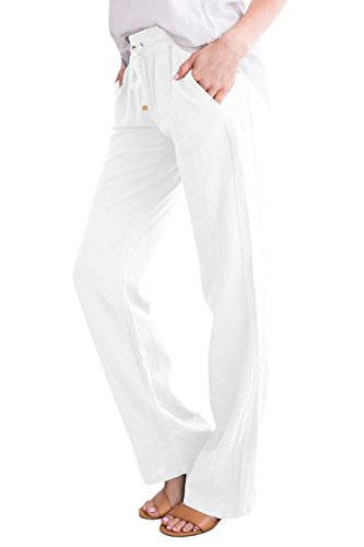 chimikeey Womens Drawstring Linen Cotton Elastic Waist Long Pants with Pockets