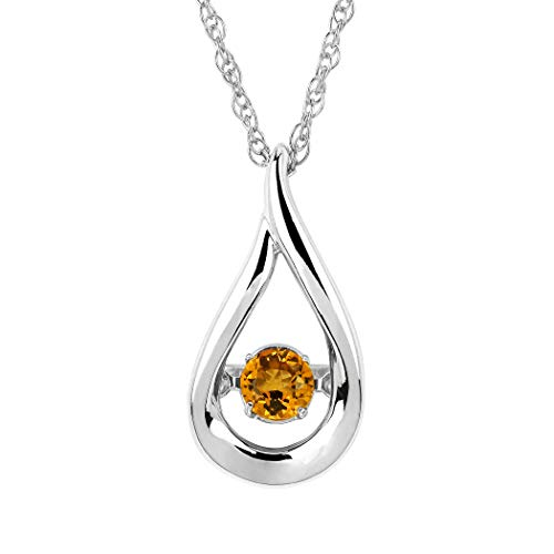 Brilliance in Motion 925 Sterling Silver Dancing Citrine November Birthstone Pendant Necklace with 18