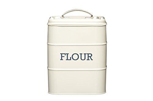 Living Nostalgia Kitchen Craft Steel Flour Storage Tin, Cream