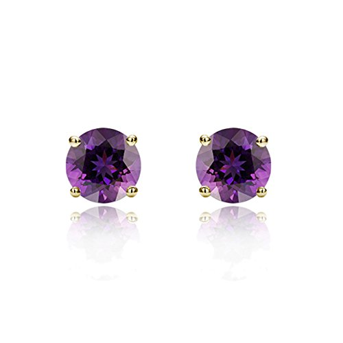 14K Yellow Gold 3mm Round Cubic Zircornia Prong Set Solitaire Screwback Stud Earrings - Purple - Gold Screw Accents