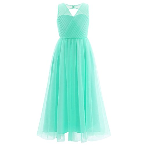 iEFiEL Girls Cross V-Neck Flower Girl Long Tulle Dress Junior Bridesmaid Pageant Gown Turquoise 8