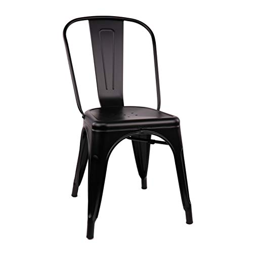 Design Lab MN LS-9000-MTBLK Dreux Matte Black Steel Stackable Side Chair Set of 4 ,