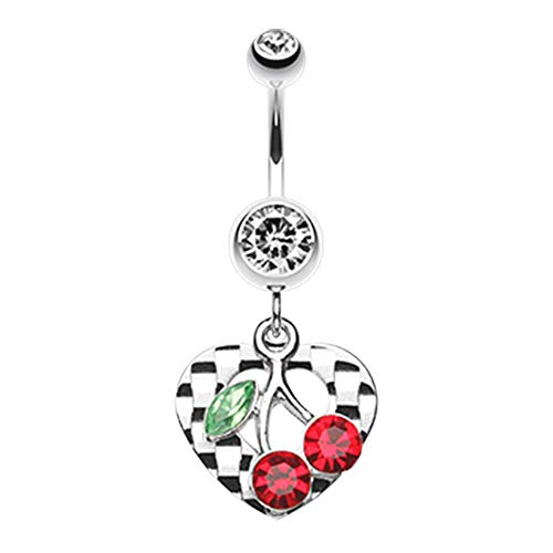 14 GA Charming Cherry Heart Belly Button Ring 316L Surgical Stainless Steel Body Piercing Jewelry For Women and Men Davana Enterprises (Multiple Colors) (14GA Clear)