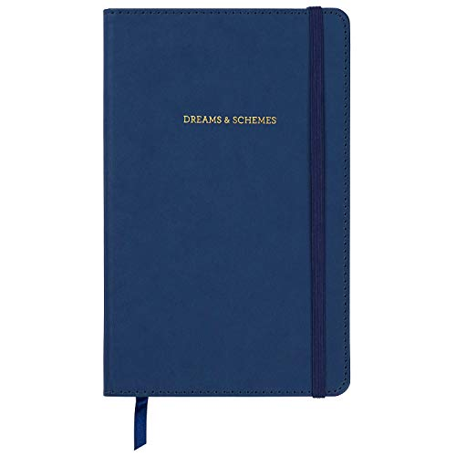 C.R. Gibson Blue Leatherette ''Dreams and Schemes'' Journal Notebook for Girls, 5.25'' W x 8.25'' L, 240