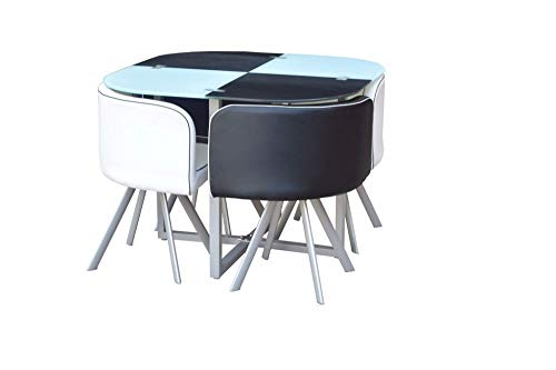 Space Saver Glass Table /& 4/ Chairs Black and White by Jane Harris Interiors