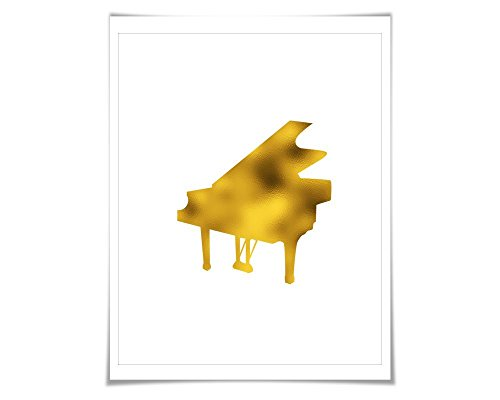 Grand Piano Gold Foil Art Print. 7 Foil Colours/3 Sizes. Musical Poster Gift for Musician Classical Music Decor Art (Foil Musical)