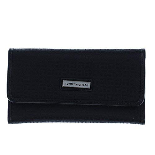 New Tommy Hilfiger TH Logo Wallet & Checkbook Cover 2 Piece Black Duplicate Flap