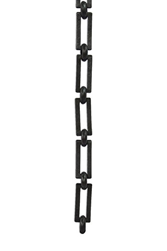 RCH Hardware Decorative Oil Bronzed Black Solid Brass Chain for Hanging, Lighting - Rectangles with Greek Key Design and Unwelded Links (1 foot)