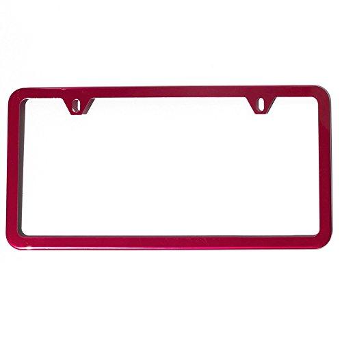 UFRAME Slim Style 2 Screw Holes Stainless Steel License Plate Frame Holder (Red)