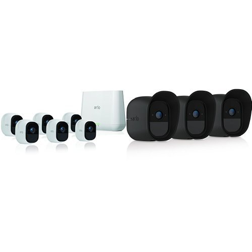 Arlo Pro Security System with Siren  6 Rechargeable Wire-Free HD Cameras with Audio, Indoor/Outdoor, Night Vision (VMS4630) with Arlo Pro Black Skins, 3-Pack (VMA4200B-10000S)