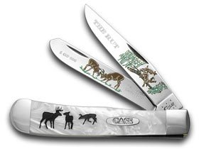 CASE XX The Rut Etched Trapper White Pearl 1/600 Pocket Knife Knives