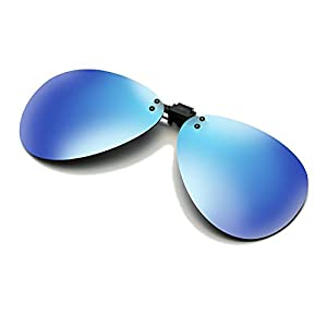 Cyxus Aviator Flash Polarized Mirrored Lenses Classic Sunglasses Clip-On Prescription Glasses [Anti-glare] [UV Protection] Driving/Fishing Eyewear, Men & Women [Blue Flash]