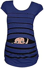 Dsood Pregnancy Tops Funny, Womens Maternity Classic Side Ruched T-Shirt Tops Mama Pregnancy Clothes