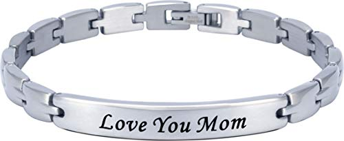 (Smarter LifeStyle Elegant Mom & Mother Themed Surgical Grade Steel Women's Bracelet Gift, Many Styles to Choose from (Love You Mom - Silver))
