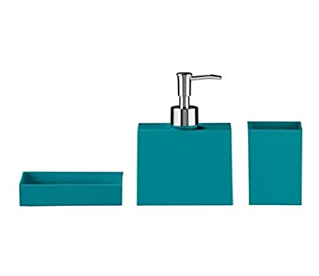 aqua coloured bathroom accessories. Colour Match Square Shaped Bathroom Accessory Set Including A Soap  Dispenser Tumbler And Dish