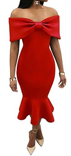 Sirena Spalla Bowknot Vestito Rosso Dalla Womens Vita Cromoncent Sexy Alta Fronte Longuette WwtInq0nT