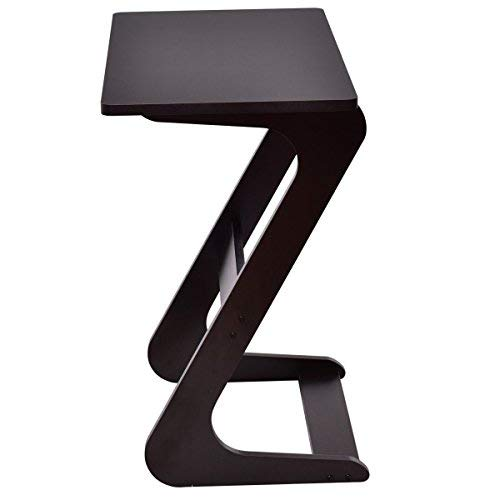 TANGKULA Sofa Table Z Style Portable Home Laptop Writing Wokstation TV Snack End Side Table Laptop Desk Coffee End Table Bed Side Snack Table (1, Wood Brown) For Sale