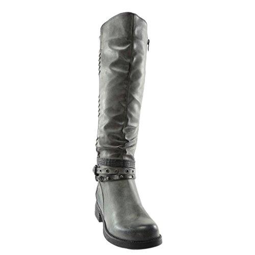 Clouté Cm Femme Botte Multi 3 bride matière Talon Perforée Angkorly Gris Intérieur Bloc Cavalier Chaussure Fourrée Bi Mode YwEvq6f