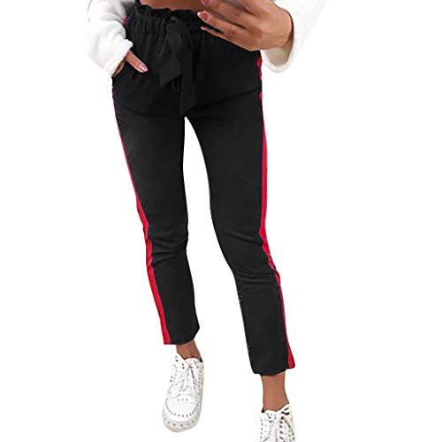 JOFOW Womens Pants Pencil Solid Patchwork Side Stripe