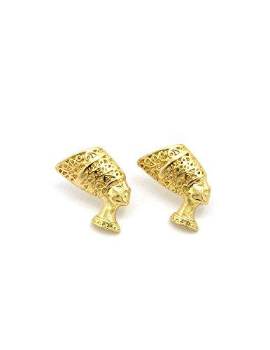 Egypt Queen Side Face Nefertiti Piece Pierced Stud Earring in Gold Tone (Earring)