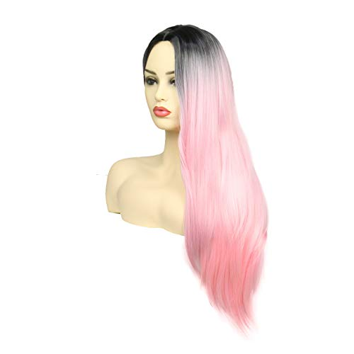 Ombre Pink Wig Long Straight Hair Wig Two Tone Dark Roots To Pink Middle Part Wigs Heat Resistant Synthetic Lolita Harajuku Cosplay Daily Full Wigs for Women 32 inches -