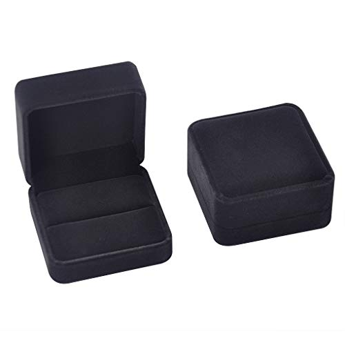iSuperb Set of 2 Unit Classic Velvet Couple Double Ring Box Earring Jewelry Case Gift Boxes 2.7x2.7x1.6inch
