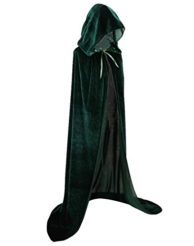Cloak with Hood Velvet Cape Halloween Costume for Men Women (66 inch/170cm, Green) -
