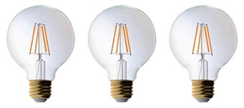 (3 Pack Bioluz LED Pendant Light Bulb, Clear Filament LED G25 Globe 40 Watt Replacement (Uses 4.5 Watts) Warm White (2700K) LED Light Bulb 470 Lumens UL Listed & Great Vanity Bulbs)