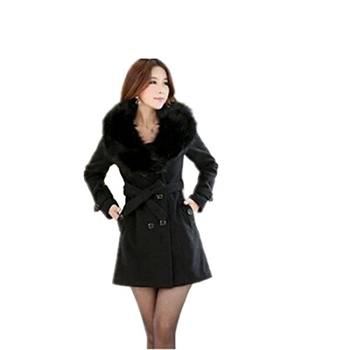 Partiss Women Double-Breasted Winter Coat Small Black
