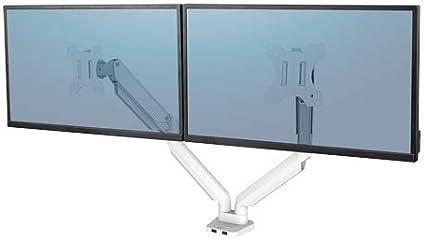 Fellowes 8056301 - Brazo para Monitor (Doble Horizontal, 2 monitores de hasta 32 Pulgadas, Altura Ajustable, Norma VESA, 2 Puertos USB, Color Blanco)
