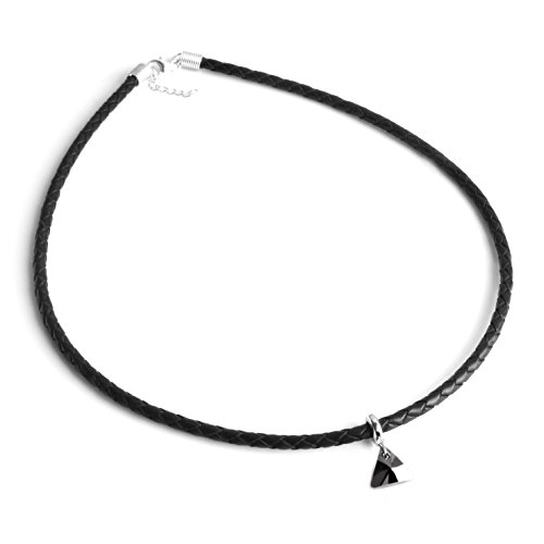 Necklace Swarovski Pendant Leather Sterling Silver Clasp Mens Find Your Fit Round 2842LNM (Swarovski Leather Necklace)