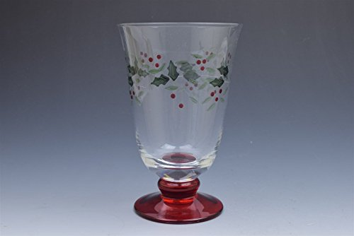 Gorham Red Stem Festive Holly Red Footed Tumbler Drinking Glass